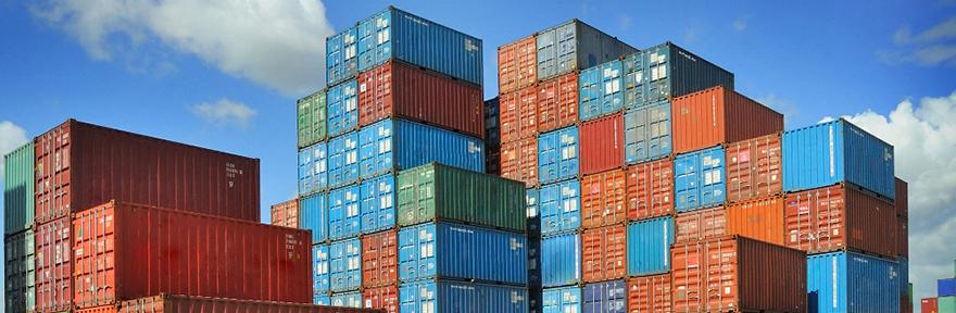 Picture of shipping containers stacked upon each other